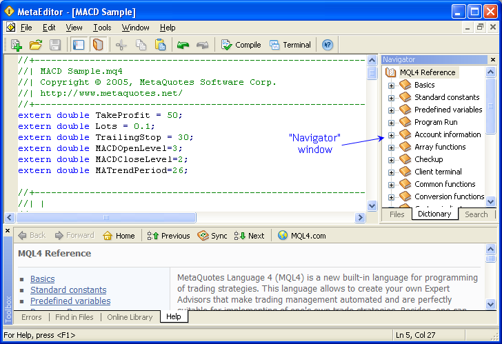 Fig. 25. Location of windows in MetaEditor.